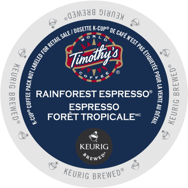 10 rainforest espresso coffee timothys k cup ca general 1 600x600 - Expresso Forêt Tropicale (Timothy's) - 24