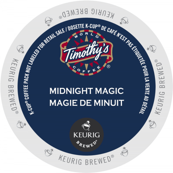 11 midnight magic coffee timothys k cup ca general 1 600x600 - Magie de Minuit (Timothy's) - 24
