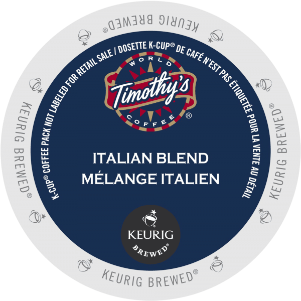 6 italian blend coffee timothys k cup ca general 1 600x600 - Mélange Italien (Timothy's) - 24